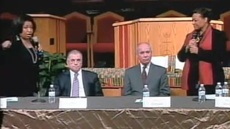 Screen shot from the debate - left to right: Braun, Chico, del Valle, and Watkins