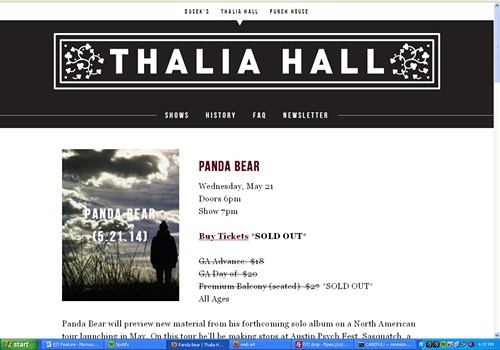Screenshot of Thalia Halls listing for tonights Panda Bear show: Wheres DJ Dog Dick?