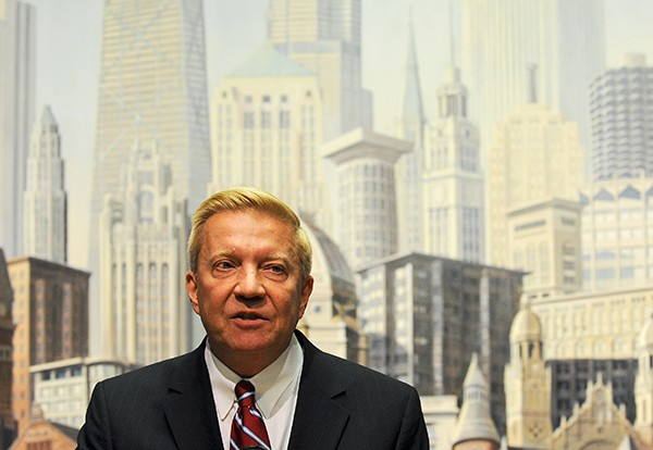 """Second Ward alderman Robert Fioretti was among the handful of aldermen who tried to stop the mayor's digital billboard deal. """"Our skyline is majestic, unparalleled,"""" he says. - JEAN LACHAT/SUN-TIMES"""