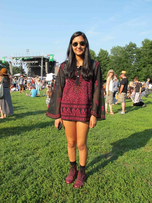 Serena. Came to see: St. Vincent and Tune-Yards. Why this outfit? I just really like these colors, and this shirt is unique.
