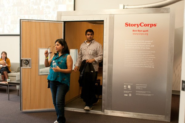 Shah and Parekh came to the StoryCorps booth on the eight anniversary of their first date. - ANDREA BAUER