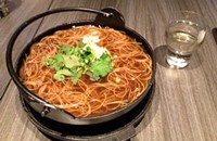 Noodle threads with oyster or vegetable at Vora