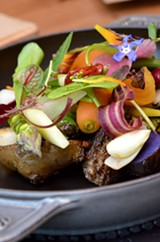 """Spring Garden"" is a riff on ""gargouillou of young vegetables,"" a symphonic springtime signature dish of French superchef Michel Bras. - JEN MORAN"