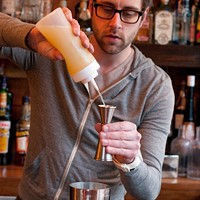 Step-by-step instructions for making Jay Schroeder's PEZ cocktail Start with three quarters of an ounce of freshly squeezed lemon juice. Andrea Bauer