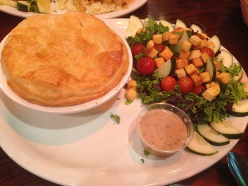 Steak pie and salad