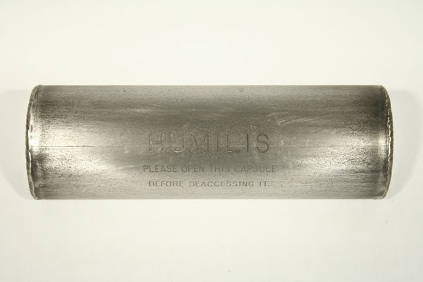 "Stephen Kaltenbach, Humilis, Burnished Steel & Unknown Contents, Unique Time Capsule, 4 x 4 x 12"", 1970 - Present"