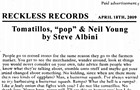 "Steve Albini's ""Tomatillos, 'pop' & Neil Young"""