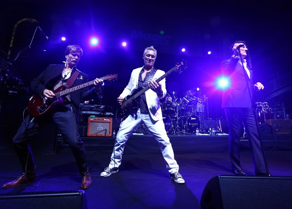 Steve Norman, Martin Kemp, and Tony Hadley of Spandau Ballet perform in London in December 2014. - TIM P. WHITBY/GETTY IMAGES