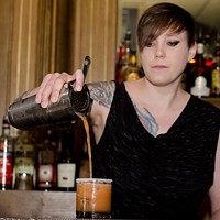Step-by-step instructions for making a Barrelhouse Flat bartender's Takis cocktail Strain over ice into a salt-rimmed rocks glass. Eileen Meslar