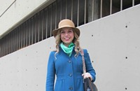 Street View 073: Molly's Sunday best, standing out in a sea of puffy jackets