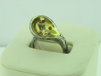 Structural Scoop black diamond ring from One Origin
