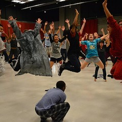 Students rehearse for last year's final GTS production.