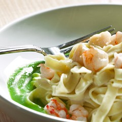 Tagliolini with rock shrimp, bay scallops, and pea puree