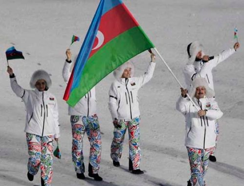 The Azerbaijan team, in oversize-paisley-patterned pants
