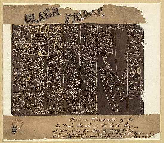 The black board in the New York Gold Room, September 24, 1869.