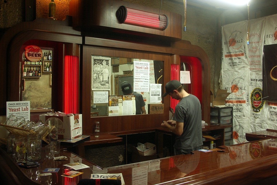 The CHAOS bar is a display model donated by Aaron Heineman of Heineman Bar Company. Hes also founder of Breakroom Brewery, soon to open in the same Albany Park space as HBC. (Thats Jamie Proctor behind the bar.)