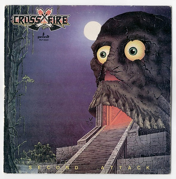 The cover of Crossfire's 1985 album Second Attack, skull number 559 at Big Dumb Skulls