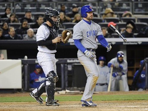 The Cubs couldnt get their bats to cooperate yesterday in Yankee Stadium. Ryan Kalish disposes of his after fanning in the fifth inning of game two.