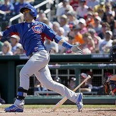 The Cubs' Javier Baez watches his fourth-inning shot leave the park yesterday. Jorge Soler homered before him and Kris Bryant after him. That was the good news.