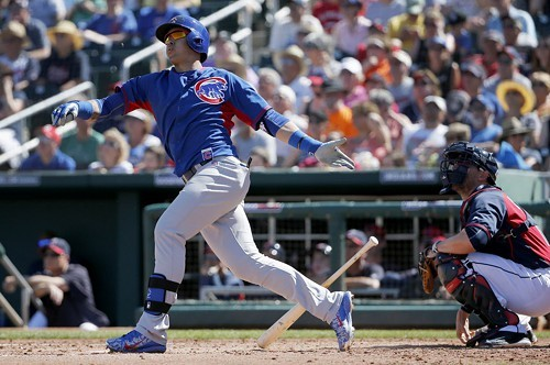 Javier Baez watches his fourth-inning shot leave the park yesterday. Jorge Soler homered before him and Kris Bryant after him. That was the good news.