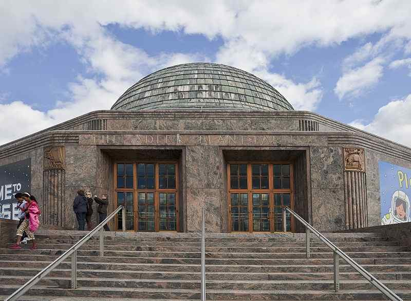 The entrance to the Adler Planetarium