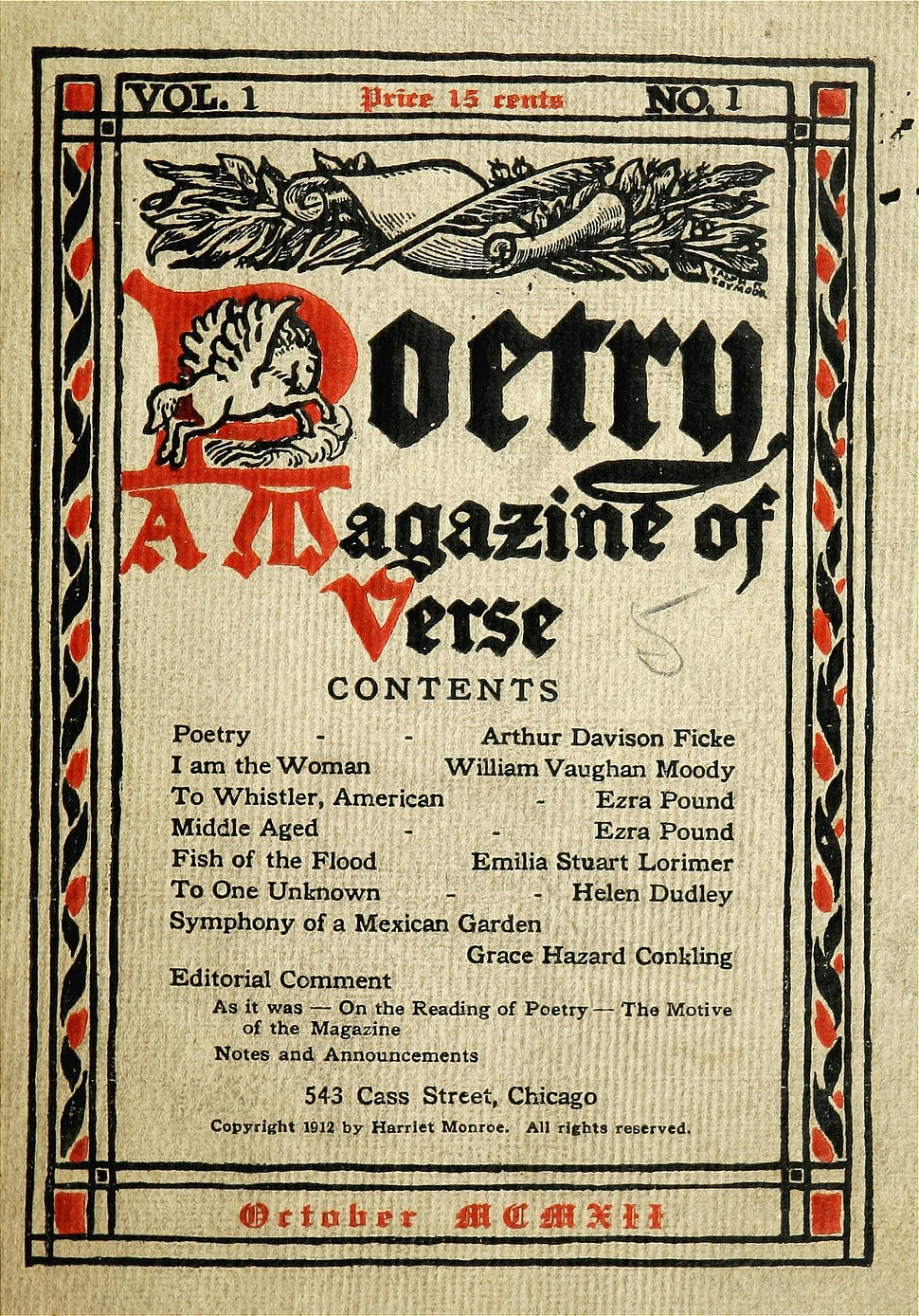 The first-ever issue of Poetry.