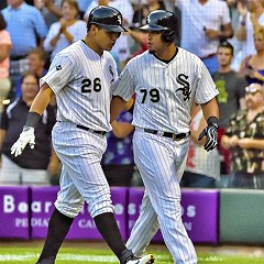 The future for the White Sox: Avisail Garcia, after homering in August against the Orioles, with Jose Abreu.
