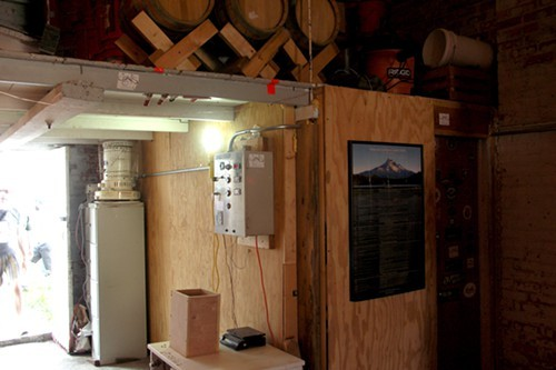 The heavily insulated, temperature-controlled fermentation room, which admittedly doesnt look like much from the outside.