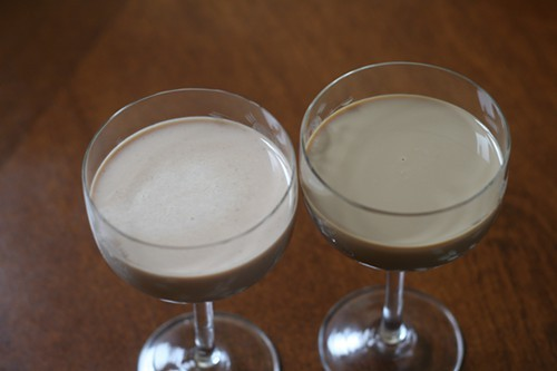 The homemade Irish cream (left) is lighter in color and thinner in texture than the Kerrygold (right)