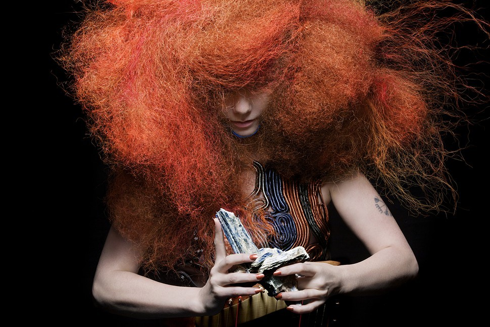 The inimitable Bjork. Not pictured: The six-foot Tesla coil shes been using to play the bass line to Thunderbolt.
