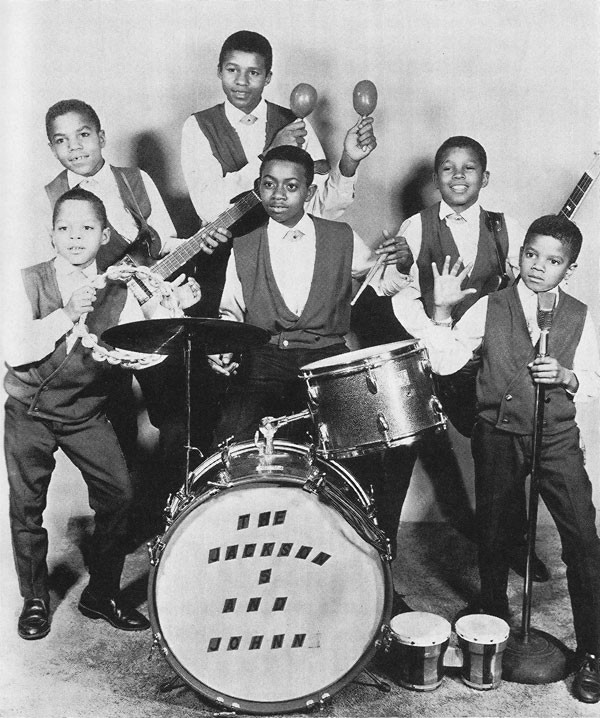The Jackson Five with drummer Johnny Jackson (no relation) - FROM THE COLLECTION OF GILLES PETARD