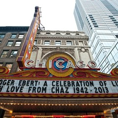 The marquee for Roger Ebert's memorial celebration