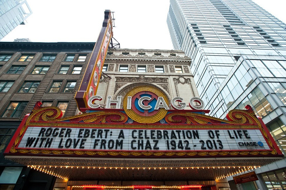 The marquee for Roger Eberts memorial celebration