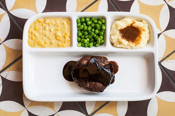 The meat loaf TV dinner is easily the kitschiest thing on the menu.