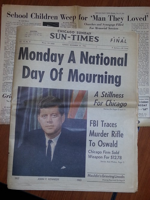 The Nov. 24, 1963, Chicago Sun-Times and, in background, the Nov. 25, 1963, Chicago Daily News