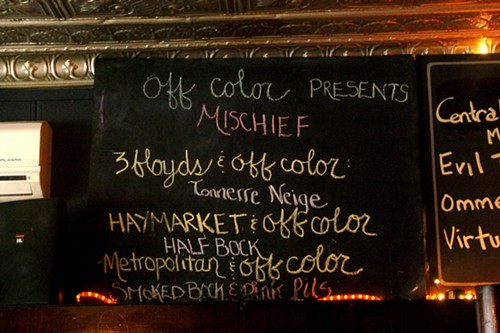 The Off Color collaborations at Mischief. The guest-tap list is out of frame to the right.