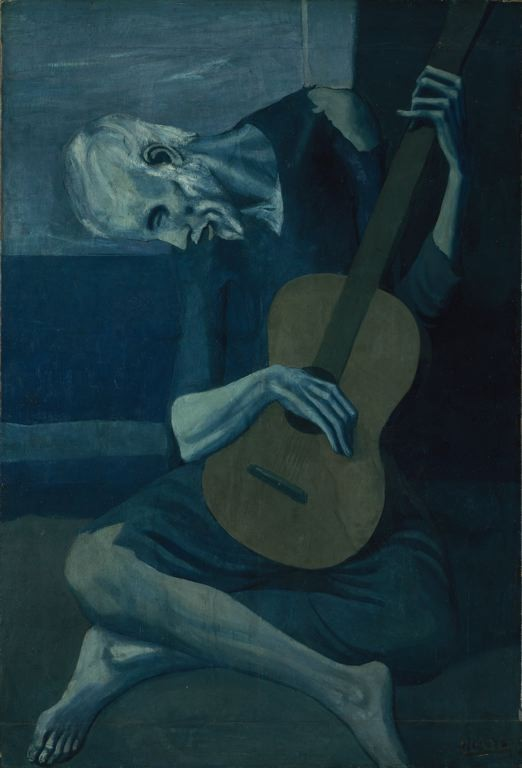 The Old Guitarist, Pablo Picasso, 1903-04. This is what I looked like after Derrick Rose tore his ACL.