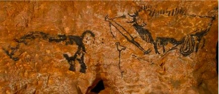 The only human figure of the more than 1000 paintings and engravings inside the Lascaux caves
