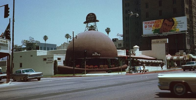 The original Brown Derby Restaurant on Wilshire Boulevard, Los Angeles, California