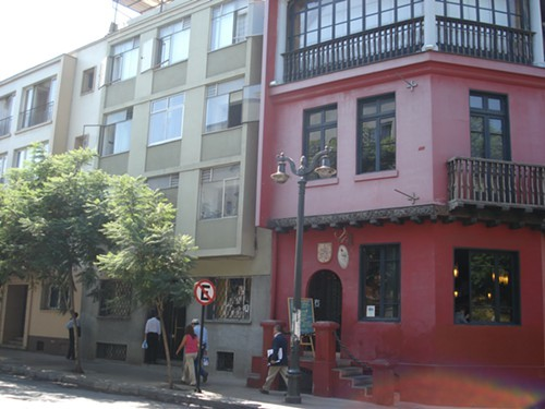 The outside of the apartment on Lastarria. Its the nondescript one to the left of the pink building.