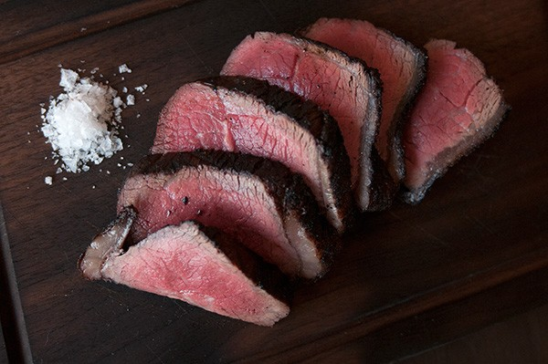 The picanha is served simply, with just a pile of sea salt.