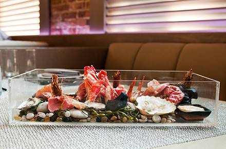 """The """"seafood aquarium"""" is Shin Thompson's answer to the ever-popular steak house showstopper known as the seafood tower."""