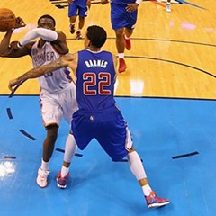 The Thunder's Reggie Jackson and the Clippers' Matt Barnes