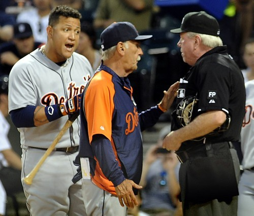 Tigers slugger Miguel Cabrera and manager Jim Leyland argue with umpire Brian Gorman last night at U.S. Cellular Field. Gorman tossed both.
