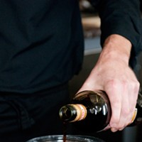 """Spiaggia's Brendan Smith whips up some """"dessert mustard"""" Then a half ounce of the amaro. Andrea Bauer"""