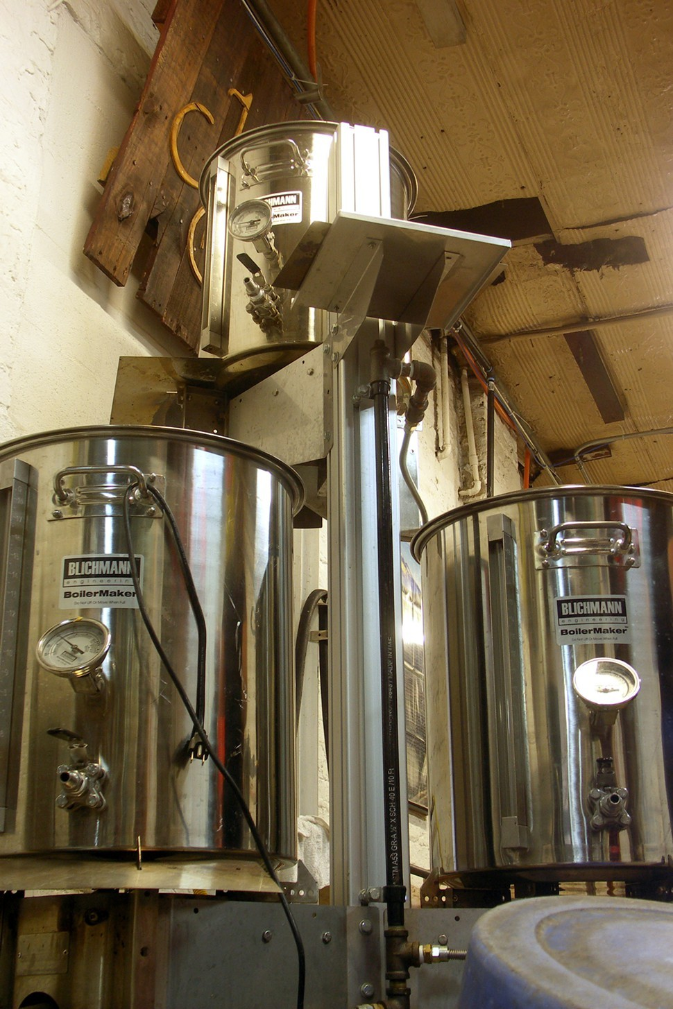 This Blichmann Tower of Power (its actual name) is on loan from Tim Lange, one of two head brewers at Marz.