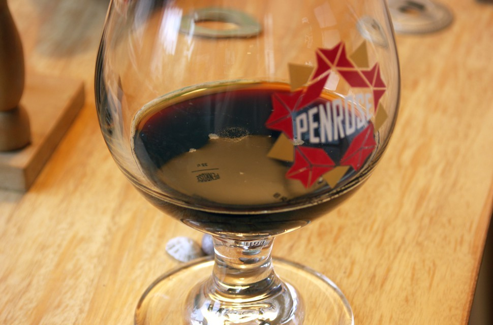This is probably straight-up Bourbon County Brand Stout. I gave up on taking photos of my glass very early. Anyway, all four stouts look the same.