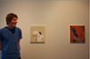 Tim Nickodemus next to his paintings Charts, 2011 and Lean, 2011