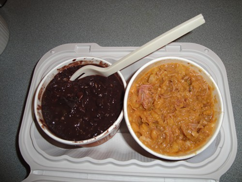 To the left, vegetarian Cuban black beans; to the right, Cubas answer to cassoulet