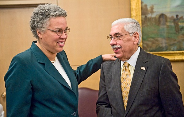 Toni Preckwinkle with Cook County Democratic chairman Joe Berrios - RICH HEIN | CHICAGO SUN-TIMES